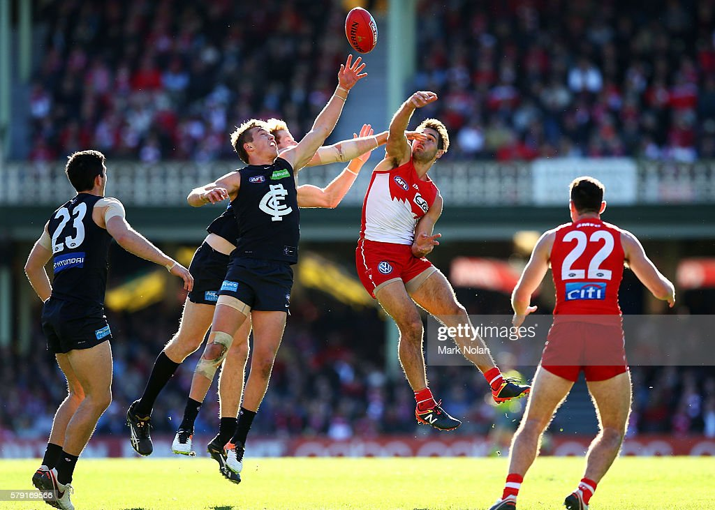 Patrick Cripps of Carlton and Josh P Kennedy of the Swans contest possession during the round 18 AFL match between the Sydney Swans and the Carlton Blues at Sydney Cricket Ground on July 23, 2016 in Sydney, Australia.