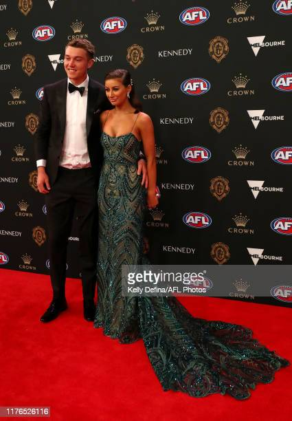 Patrick Cripps of Carlton and Monnique Fontana arrive ahead of the 2019 Brownlow Medal at Crown Palladium on September 23, 2019 in Melbourne,...