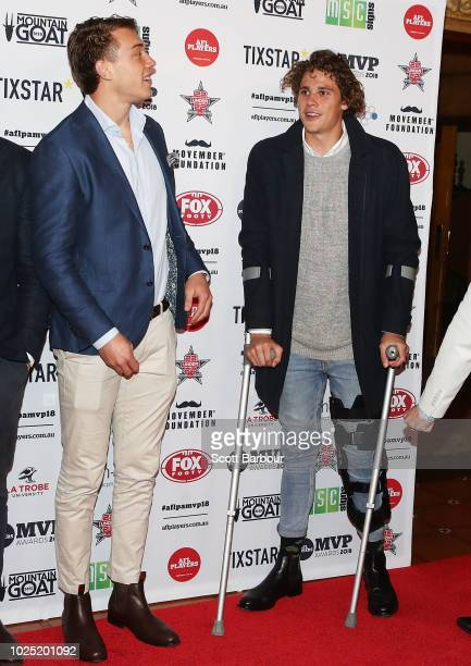 Patrick Cripps of the Blues and Charlie Curnow of the Blues attend during the 2018 AFL Players' MVP Awards at the Basement on August 30 2018 in...