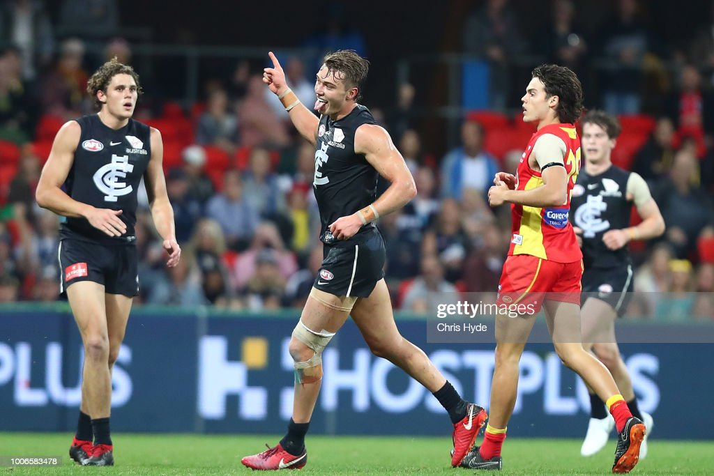 Patrick Cripps of the Blues celebrates a goal during the round 19 AFL match between the Gold Coast Suns and the Carlton Blues at Metricon Stadium on July 28, 2018 in Gold Coast, Australia.