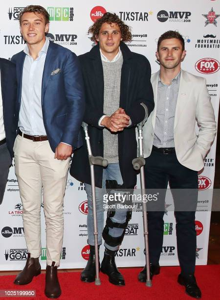 Patrick Cripps of the Blues Charlie Curnow of the Blues and Marc Murphy of the Blues attend during the 2018 AFL Players' MVP Awards at the Basement...