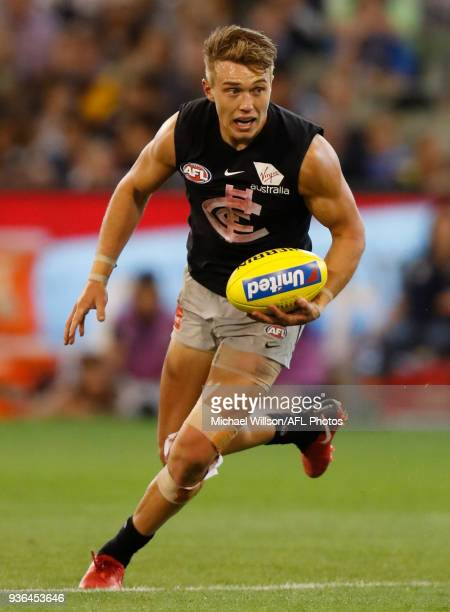 Patrick Cripps of the Blues in action during the 2018 AFL round 01 match between the Richmond Tigers and the Carlton Blues at the Melbourne Cricket...