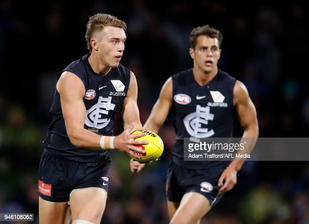 Patrick Cripps of the Blues in action during the 2018 AFL Round 04 match between the North Melbourne Kangaroos and the Carlton Blues at Blundstone...