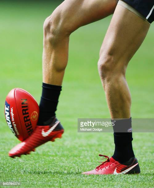 Patrick Cripps of the Blues kicks the ball in the warm up during the round two AFL match between the Carlton Blues and the Gold Coast Suns at Etihad...
