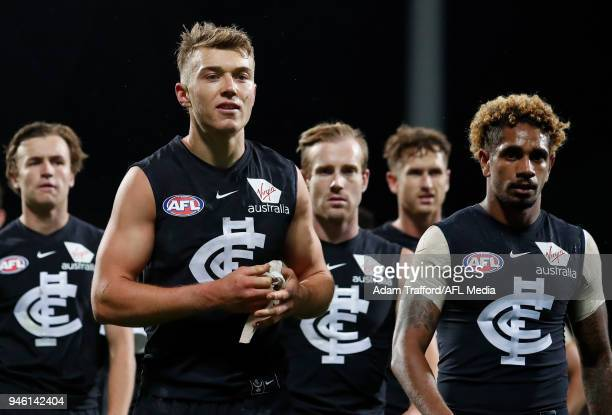 Patrick Cripps of the Blues looks dejected after a loss during the 2018 AFL Round 04 match between the North Melbourne Kangaroos and the Carlton...