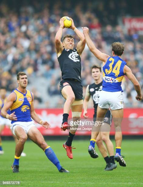 Patrick Cripps of the Blues marks the ball during the round five AFL match between the Carlton Blues and the West Coast Eagles at Melbourne Cricket...