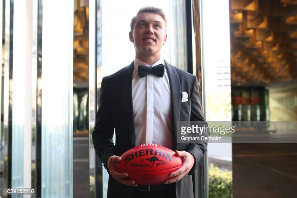 Patrick Cripps of the Blues wears MJ Bale for the 2018 Brownlow Medal at Crown Entertainment Complex on September 24 2018 in Melbourne Australia