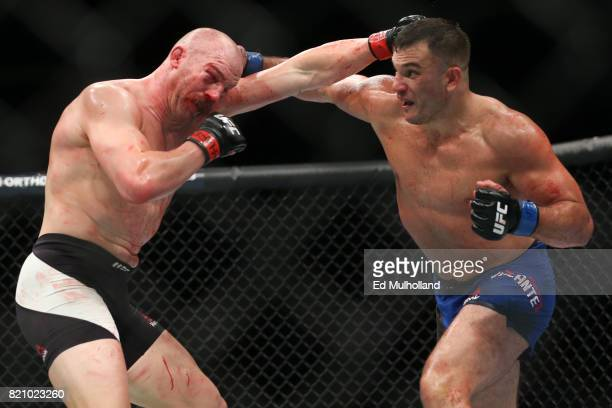 Patrick Cummins and Gian Villante trade blows during their UFC Fight Night light heavyweight bout at the Nassau Veterans Memorial Coliseum on July 22...