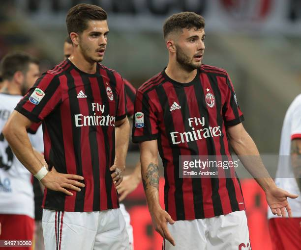 Patrick Cutrone and Andre Silva of AC Milan look on during the serie A match between AC Milan and Benevento Calcio at Stadio Giuseppe Meazza on April...