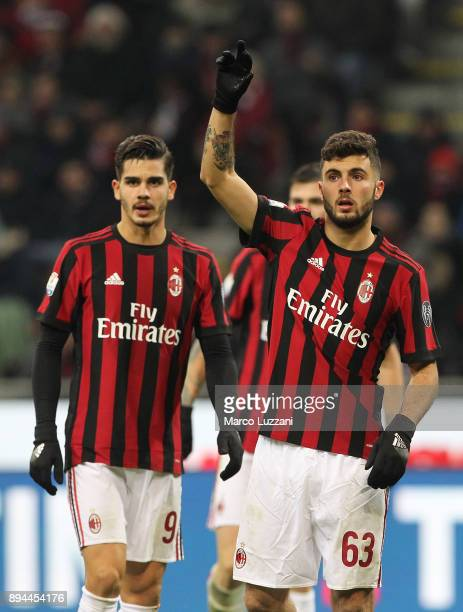 Patrick Cutrone and Andre Silva of AC Milan look on during the Tim Cup match between AC Milan and Hellas Verona FC at Stadio Giuseppe Meazza on...