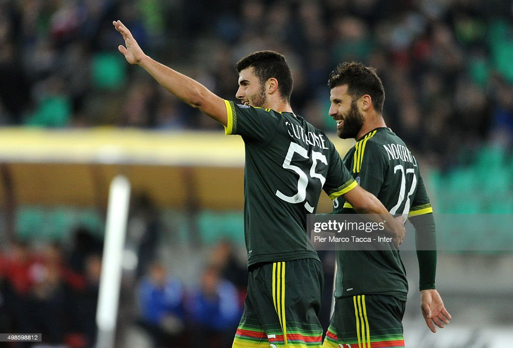 Patrick Cutrone and Antonio Nocerino of AC Milan celebrate the first goal during a pre-season tournament between FC Internazionale, AC Milan and AS Bari at Stadio San Nicola on November 24, 2015 in Bari, Italy.