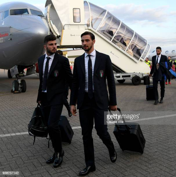 Patrick Cutrone and Mattia De Sciglio of Italy arrive to Luton Aiport on March 26 2018 in London England