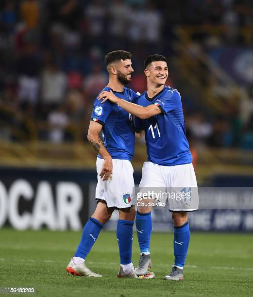 Patrick Cutrone and Riccardo Orsolini of Italy celebrate during the 2019 UEFA U21 Group A match between Italy and Spain at on June 16 2019 in Bologna...