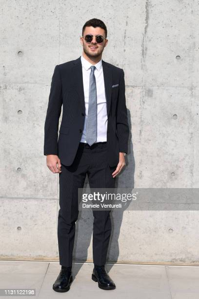 Patrick Cutrone attends the Emporio Armani show at Milan Fashion Week Autumn/Winter 2019/20 on February 21 2019 in Milan Italy