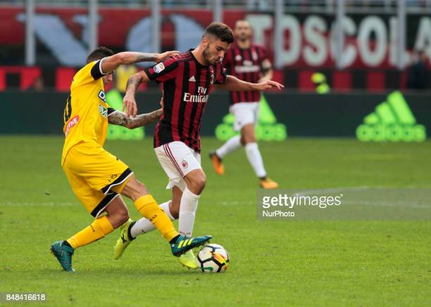 Patrick Cutrone during Serie A match between Milan v Udinese in Milan on September 17 2017