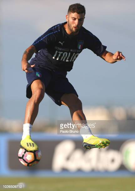 Patrick Cutrone in action during the Italy U21 training session at Mancini Park hotel on September 3 2018 in Rome Italy