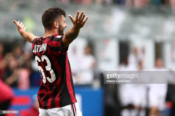 Patrick Cutrone of Ac Milan celebrates after scoring a goal during the Serie A football match between AC Milan and Acf Fiorentina Ac Milan wins 51...