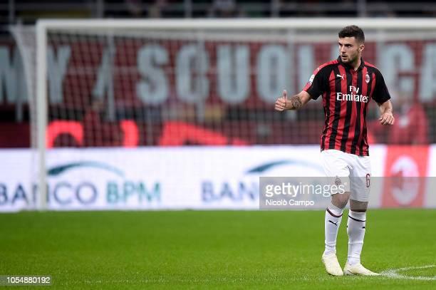 Patrick Cutrone of AC Milan celebrates after scoring goal during the Serie A football match between AC Milan and UC Sampdoria AC Milan won 32 over UC...