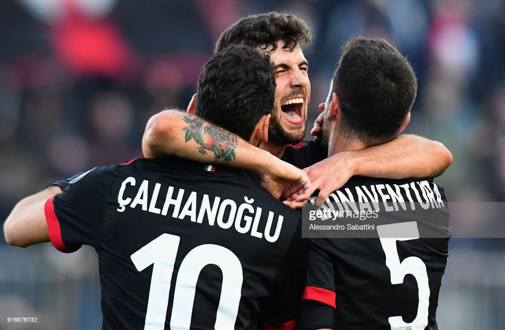 Patrick Cutrone of AC Milan celebrates after scoring his team second goal during the serie A match between Spal and AC Milan at Stadio Paolo Mazza on February 10, 2018 in Ferrara, Italy.