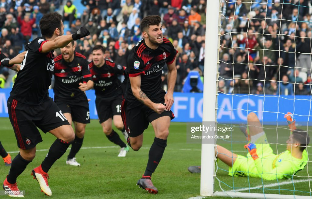 Patrick Cutrone of AC Milan celebrates after scoring the opening goal during the serie A match between Spal and AC Milan at Stadio Paolo Mazza on February 10, 2018 in Ferrara, Italy.