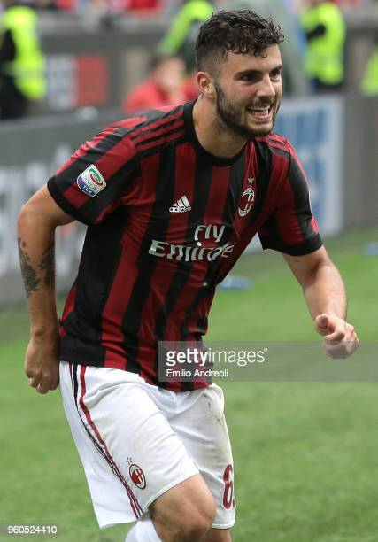 Patrick Cutrone of AC Milan celebrates his goal during the serie A match between AC Milan and ACF Fiorentina at Stadio Giuseppe Meazza on May 20 2018...
