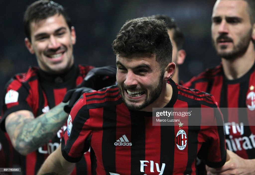 Patrick Cutrone of AC Milan celebrates his goal during the Tim Cup match between AC Milan and Hellas Verona FC at Stadio Giuseppe Meazza on December 13, 2017 in Milan, Italy.