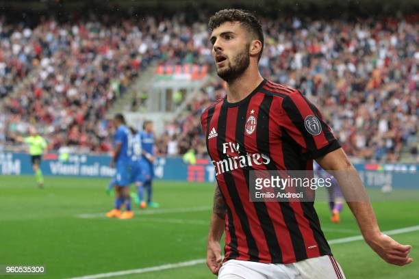 Patrick Cutrone of AC Milan celebrates his second goal during the Serie A match between AC Milan and ACF Fiorentina at Stadio Giuseppe Meazza on May...