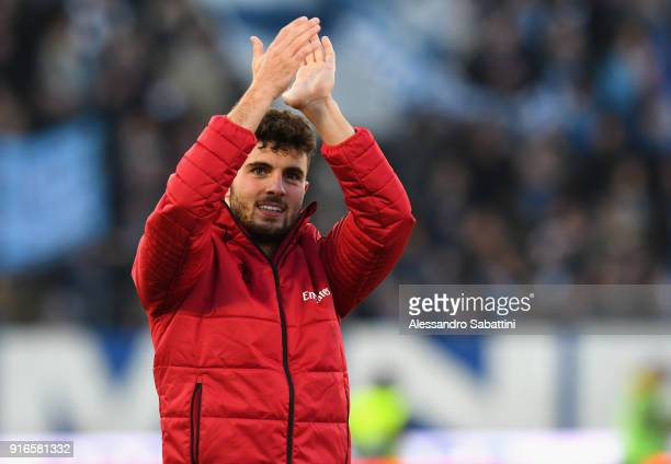Patrick Cutrone of AC Milan celebrates the victory after the serie A match between Spal and AC Milan at Stadio Paolo Mazza on February 10 2018 in...