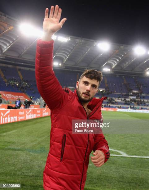 Patrick Cutrone of AC Milan celebrates the victory after the serie A match between AS Roma and AC Milan at Stadio Olimpico on February 25 2018 in...