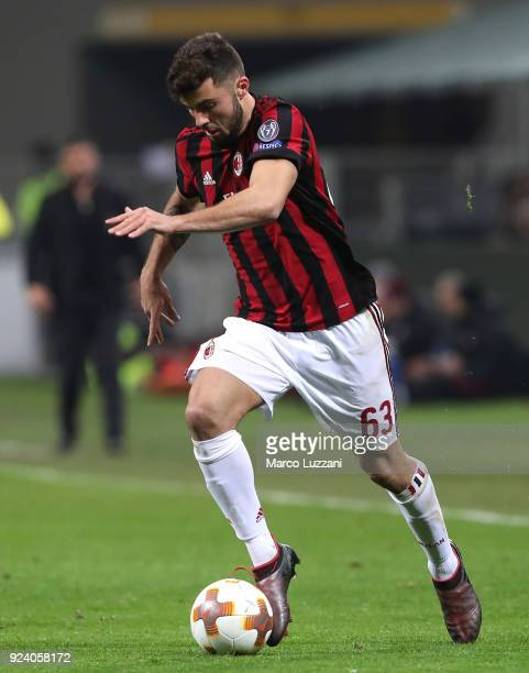 Patrick Cutrone of AC Milan drives the ball during UEFA Europa League Round of 32 match between AC Milan and Ludogorets Razgrad at the San Siro on...