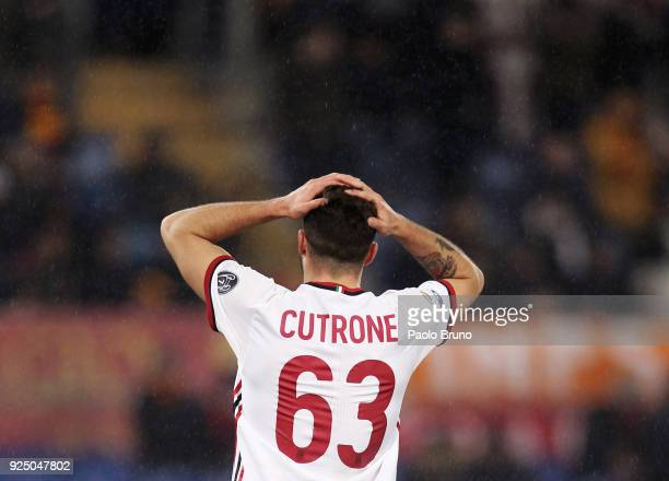 Patrick Cutrone of AC Milan from shoulders reacts during the serie A match between AS Roma and AC Milan at Stadio Olimpico on February 25 2018 in...
