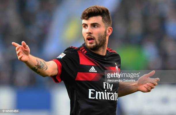 Patrick Cutrone of AC Milan gestures during the serie A match between Spal and AC Milan at Stadio Paolo Mazza on February 10 2018 in Ferrara Italy