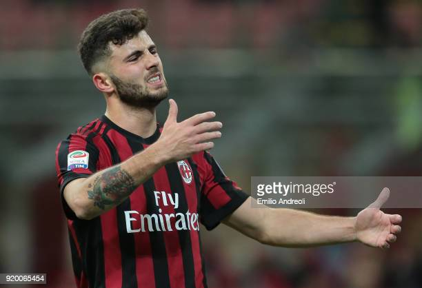 Patrick Cutrone of AC Milan gestures during the serie A match between AC Milan and UC Sampdoria at Stadio Giuseppe Meazza on February 18 2018 in...