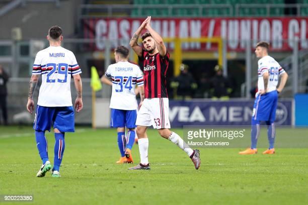 Patrick Cutrone of Ac Milan greet the fans during the Serie A football match between AC Milan and Uc Sampdoria Ac Milan wins 10 over Uc Sampdoria