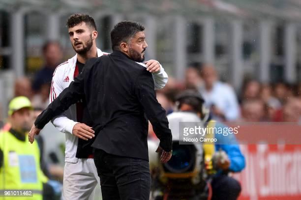 Patrick Cutrone of AC Milan hugs Gennaro Gattuso during the Serie A football match between AC Milan and ACF Fiorentina AC Milan won 51 over ACF...