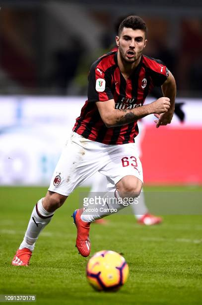 Patrick Cutrone of AC Milan in action during the Coppa Italia quarterfinal football match between AC Milan and SSC Napoli AC Milan won 20 over SSC...