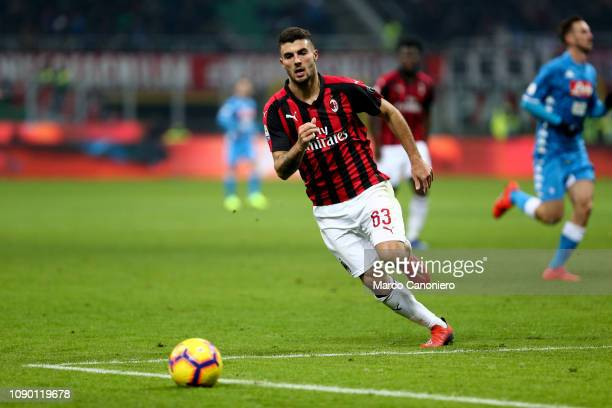 Patrick Cutrone of Ac Milan in action during the Serie A football match between AC Milan and Ssc Napoli The match end in a tie 00