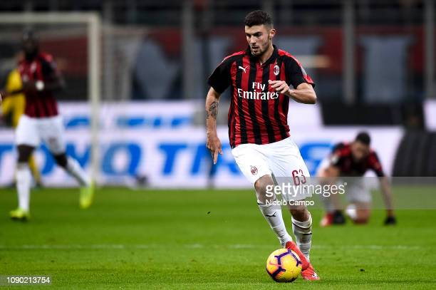 Patrick Cutrone of AC Milan in action during the Serie A football match between AC Milan and SSC Napoli The match ended in a 00 tie