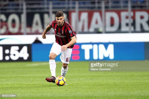 Patrick Cutrone of Ac Milan in action during the Serie A football match between AC Milan and Uc Sampdoria Ac Milan wins 10 over Uc Sampdoria