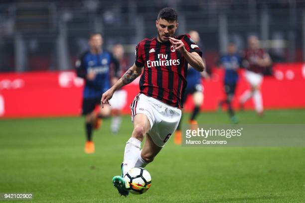 Patrick Cutrone of Ac Milan in action during the Serie A football match between AC Milan and Fc Internazionale The match ends in a tie 00