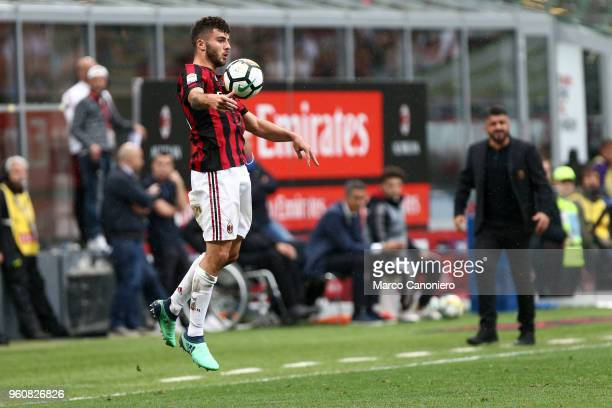 Patrick Cutrone of Ac Milan in action during the Serie A football match between AC Milan and Acf Fiorentina Ac Milan wins 51 over Acf Fiorentina