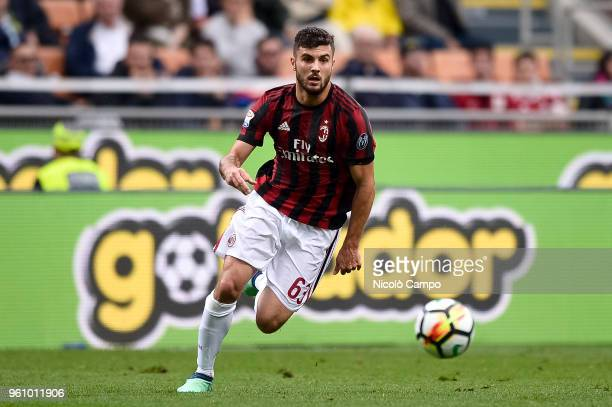 Patrick Cutrone of AC Milan in action during the Serie A football match between AC Milan and ACF Fiorentina AC Milan won 51 over ACF Fiorentina
