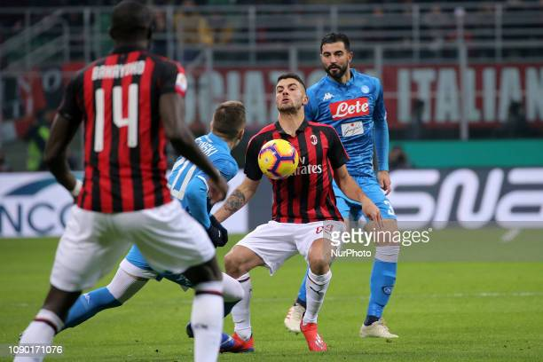 Patrick Cutrone of AC Milan in action during the serie A match between AC Milan and SSC Napoli at Stadio Giuseppe Meazza on January 26 2018 in Milan...