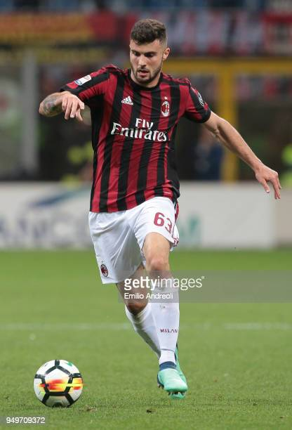 Patrick Cutrone of AC Milan in action during the serie A match between AC Milan and Benevento Calcio at Stadio Giuseppe Meazza on April 21 2018 in...