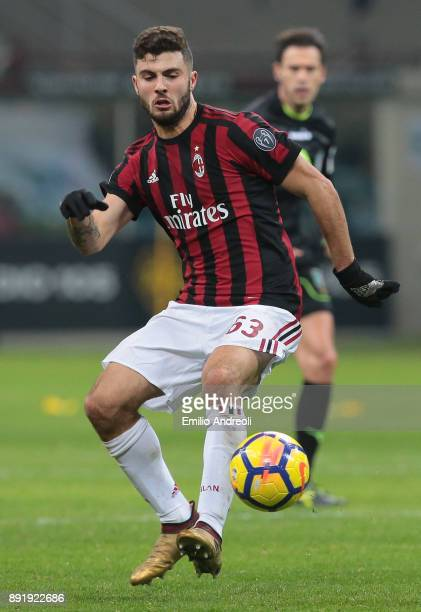Patrick Cutrone of AC Milan in action during the Tim Cup match between AC Milan and Hellas Verona FC at Stadio Giuseppe Meazza on December 13 2017 in...