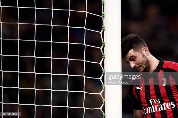 Patrick Cutrone of AC Milan looks dejected during the Serie A football match between AC Milan and Torino FC The match ended in a 00 tie