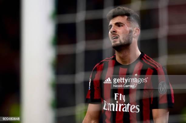 Patrick Cutrone of AC Milan looks dejected during the Serie A football match between AC Milan and UC Sampdoria AC Milan won 10 over UC Sampdoria