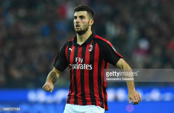 Patrick Cutrone of AC Milan looks on during the Serie A match between Udinese and AC Milan at Stadio Friuli on November 4 2018 in Udine Italy