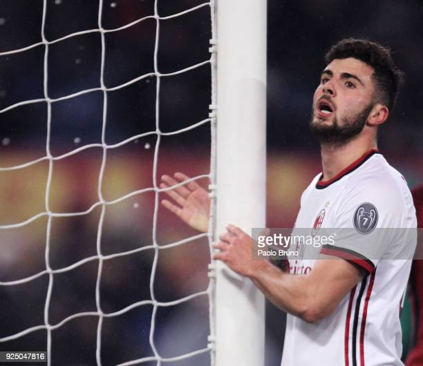 Patrick Cutrone of AC Milan looks on during the serie A match between AS Roma and AC Milan at Stadio Olimpico on February 25 2018 in Rome Italy