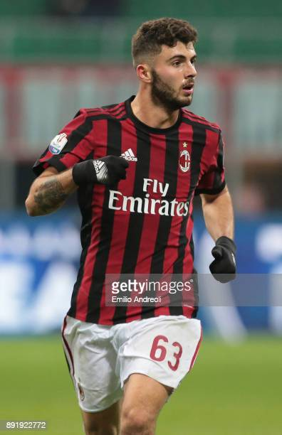 Patrick Cutrone of AC Milan looks on during the Tim Cup match between AC Milan and Hellas Verona FC at Stadio Giuseppe Meazza on December 13 2017 in...